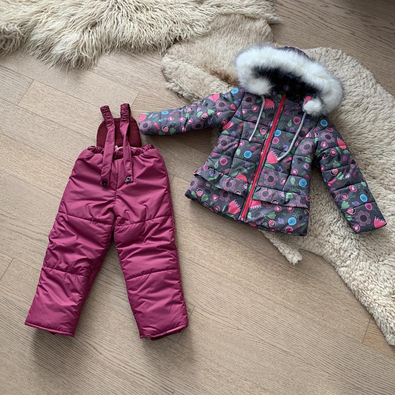 Зимний комбинезон на девочку 3-6 лет, размеры 98-116