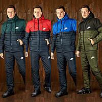 Тёплый лыжный зимний спортивный мужской костюм NIKE штаны куртка на овчине тёмно-синий 46 48 50 52 54