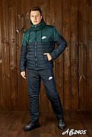 Тёплый лыжный зимний спортивный мужской костюм NIKE штаны куртка на овчине т.синий с зелёным 46 48 50 52 54