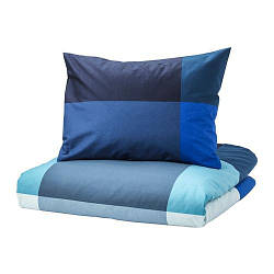 ИКЕА (IKEA) BRUNKRISSLA, 303.754.03, Комплект постельного белья, синий, серый, 200x200/50x60 см - ТОП ПРОДАЖ