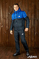 Тёплый лыжный зимний спортивный мужской костюм NIKE штаны куртка на овчине тёмно-синий с синим 46 48 50 52 54