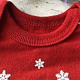 Теплий боді новорічний для хлопчика і дівчинки Новорічний 2. Розміри 62 см, 86 см, фото 3