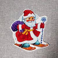 Наклейка для окон Дед Мороз на лыжах