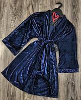 Синий велюровый халат женский, одежда для дома.