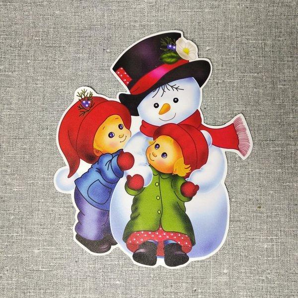 Снеговик и дети. Декорация настенная