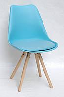 Стул на деревянных ножках с мягким сиденьем и пластиковым корпусом Milan - С