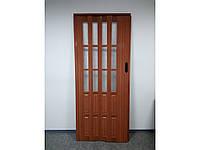 Двери гармошка полуостеклённые  86х203, Ольха красная. Двери гармошка межкомнатные. Нестандартные размеры