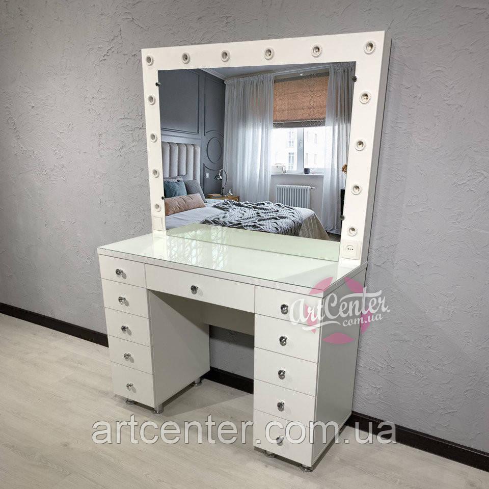 Большой стол для визажиста с 11 ящиками, ручками кристалами и стеклом на столешнице
