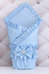 Конверт для выписки из роддома 100*80 голубого цвета из сатина с декоративной строчкой и рюшей