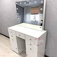 Вместительный визажный стол с 9 ящиками и ручками кристалами