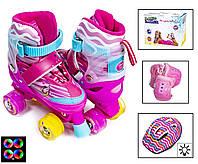 """Комплект ролики-квады """"Little Pony"""". Pink (размер 34-38). Светящиеся колеса и шлем!"""
