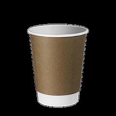 Стакан бумажный двухслойный Крафт 400мл. 20шт/уп (1ящ/25уп/500шт) (КР91)