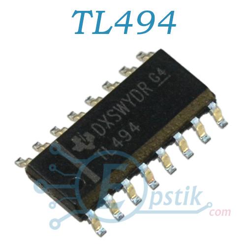 TL494CD, импульсный регулятор напряжения, 300кГц, 40В/200мА, SOP16