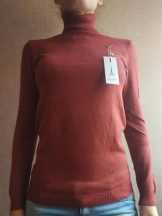 Терракотовая водолазка женская зимняя размер единый до 48го гольф женский кофта с горлом, фото 2