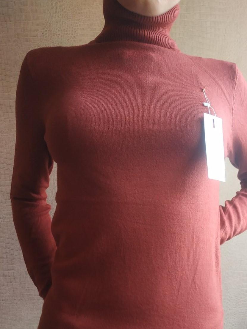 Терракотовая водолазка женская зимняя размер единый до 48го гольф женский кофта с горлом