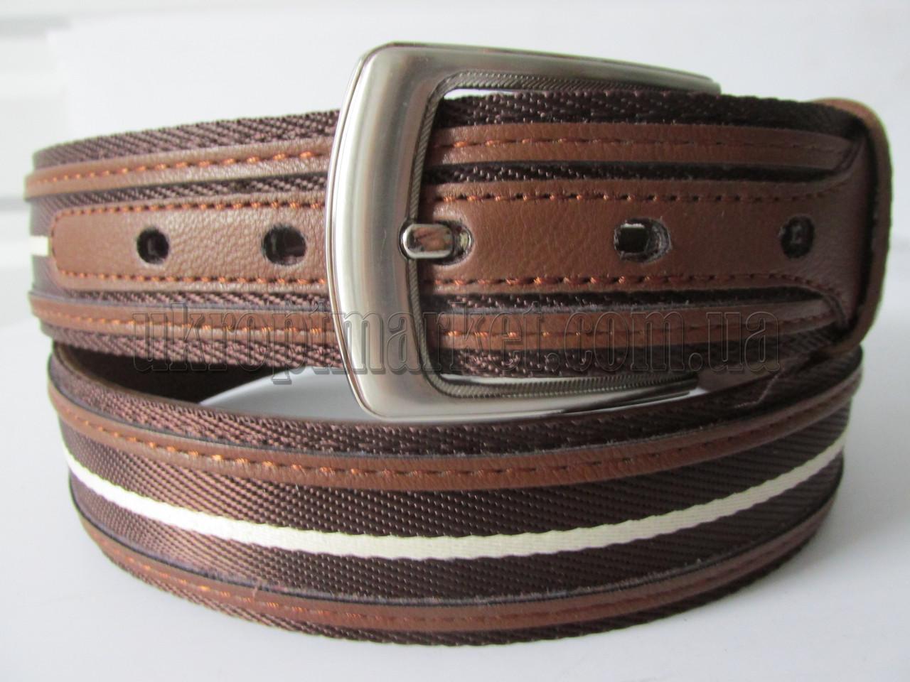 """Ремень мужской джинсовый шпенёк коричневый (ткань+кож.зам, 40 мм.) №C69607  """"Remen"""" LM-638"""