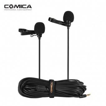 Оренда подвійний петлички COMICA CVM-D02 для камери/смартфона/GoPro