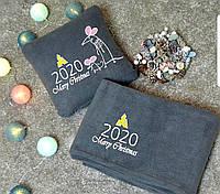 """Подушка и плед  """"Merry Christmas 2020!"""" флисовый набор символикой года!"""