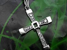 Срібний хрест з камінням