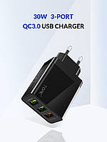 USB адаптер TOPK. 3A. 3in1 QC3.0