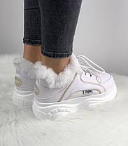 Зимние женские кроссовки Buffalo London Faux Fur-Lined Leather Platform Sneakers White Буффало белые С МЕХОМ, фото 3