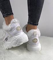 Зимние женские кроссовки Buffalo London Faux Fur-Lined Leather Platform Sneakers White Буффало белые С МЕХОМ, фото 2