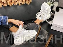 Зимние женские кроссовки Buffalo London Winter Fur Leather Platform Sneakers White Буффало белые С МЕХОМ, фото 2