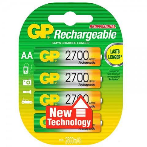 Аккумуляторы GP AA 2700mAh 4шт (R6) NiMh  (GP270AAHC-2PL4),1.2V