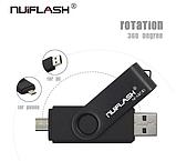 USB OTG флешка Nuiflash 64 Gb micro USB Цвет Жёлтый ОТГ для телефона и компьютера, фото 3
