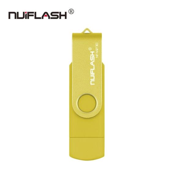 USB OTG флешка Nuiflash 64 Gb micro USB Цвет Жёлтый ОТГ для телефона и компьютера