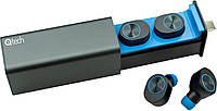 Беспроводные Bluetooth наушникиQitech Qibuds Bluetooth 5.0Blue|блютуз наушники синие (Qibuds5.0bl)