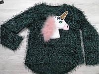 Кофточка для девочки с носорогом из зеленой травки