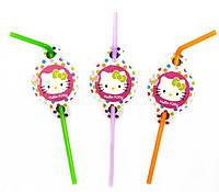 """Серия """"Hello Kitty"""" Набор трубочек для коктейля с изгибом и декором 8 шт 22см"""
