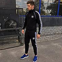 Спортивный костюм мужской зимний до - 25*С в стиле Adidas CL X black с капюшоном