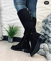 Женские замшевые натуральные сапоги на низком квадратном каблуке, ОВ 6049