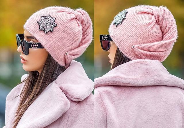 картинка шапка с флисом розовая