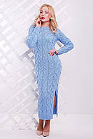 Облегающее вязаное длинное платье с узором косичка 42-48 р