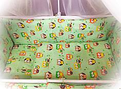 Бортики в детскую кроватку защита бампер Салатовый для новорожденных