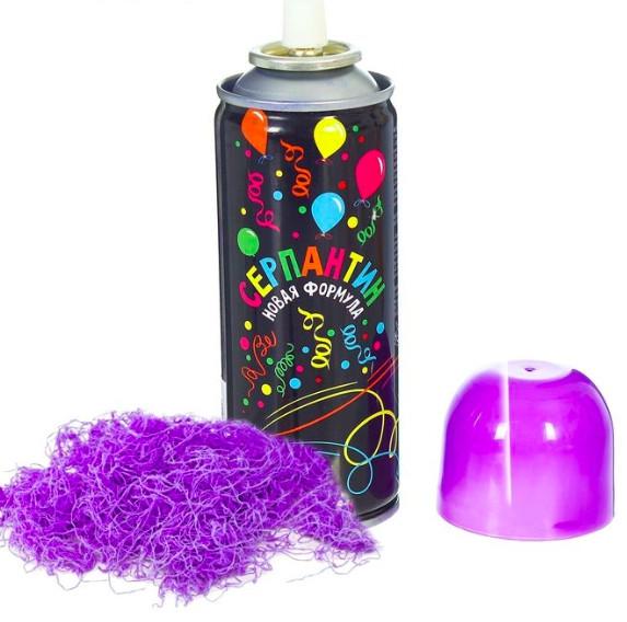 Топ! Праздничный Фиолетовый Серпантин 250 мл, Спрей в баллончике