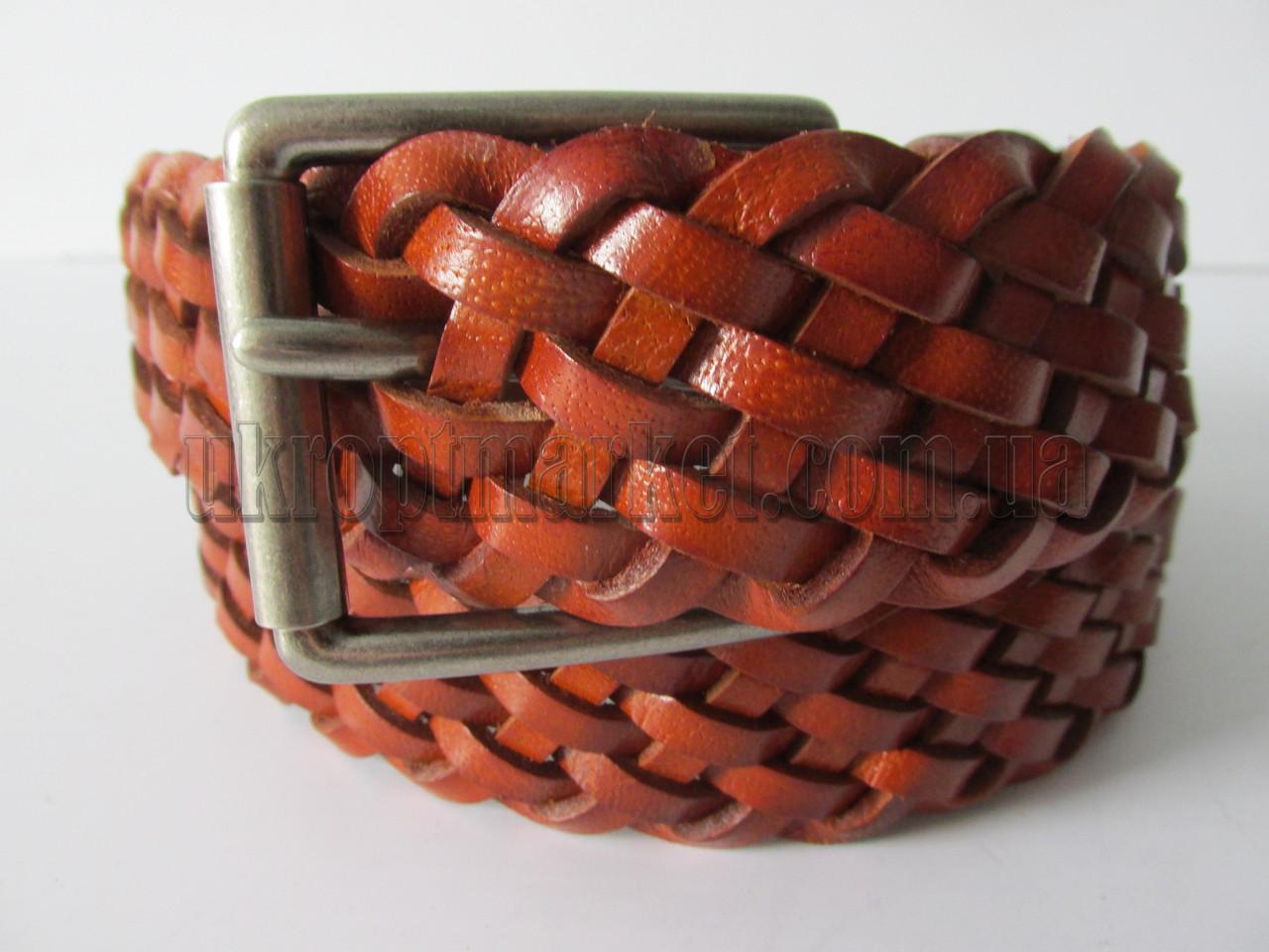 """Ремень мужской джинсовый шпенёк коричневый (кожа, 40 мм.) №C69622  """"Remen"""" LM-638"""