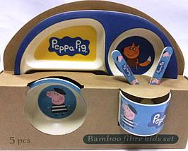 """Набор посуды из бамбука """"Свинка Пеппа"""" 5 предметов"""