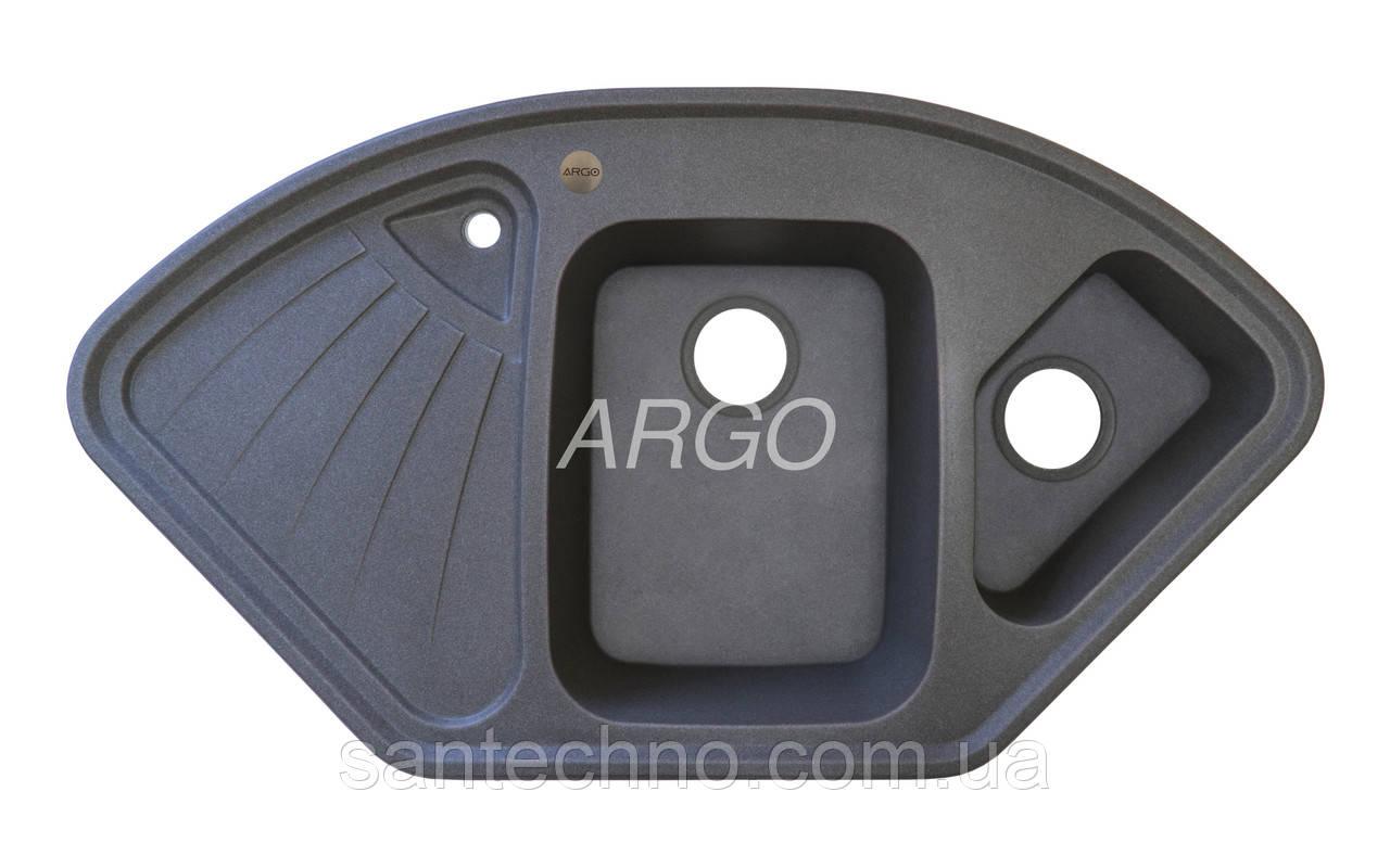 Угловая гранитная мойка для кухни с двумя чашами Argo Trapezio Dark Grey 1060*575*190(темно-серая)