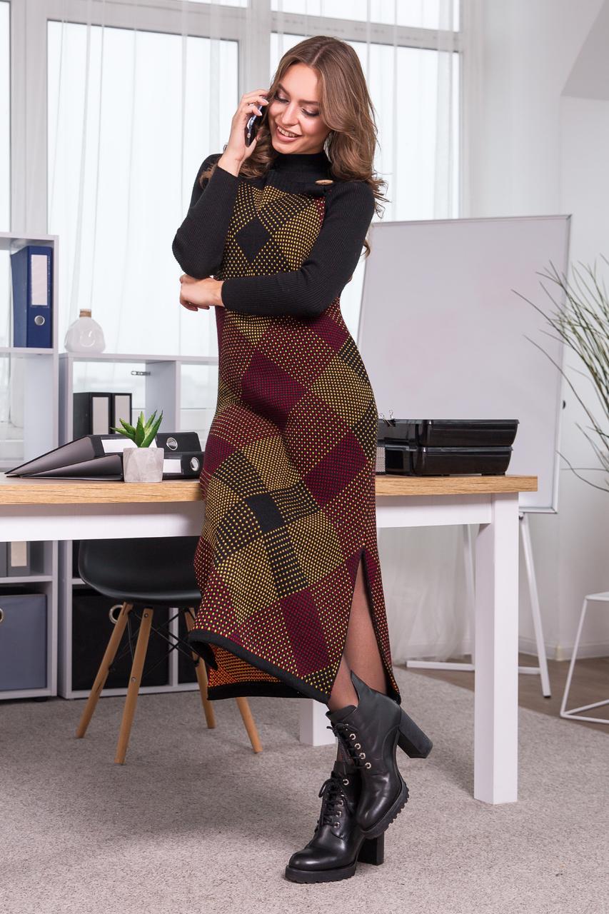 Теплое платье-сарафан в клетку «Хлоя», 44-48