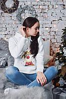 Женское худи новогоднее белое с оленем