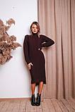 Женское теплое  вязаное платье под горло удлиненное пряжа 50% шерсть 50% акрил Estilo Diani размер: 42-46, фото 5