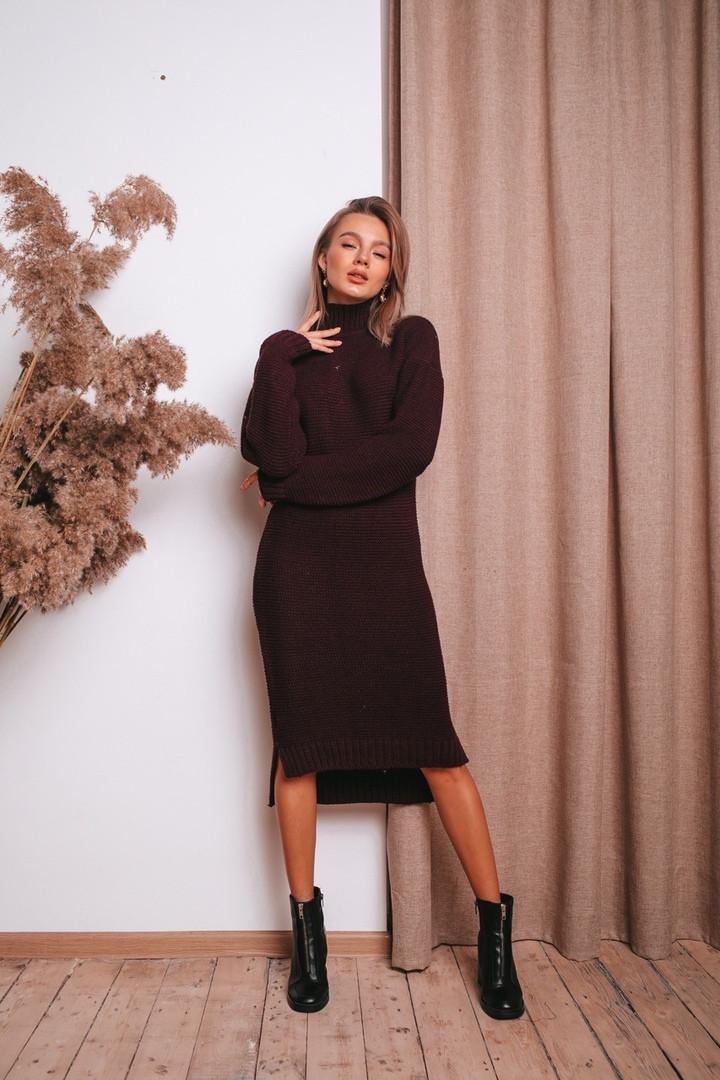 Женское теплое  вязаное платье под горло удлиненное пряжа 50% шерсть 50% акрил Estilo Diani размер: 42-46
