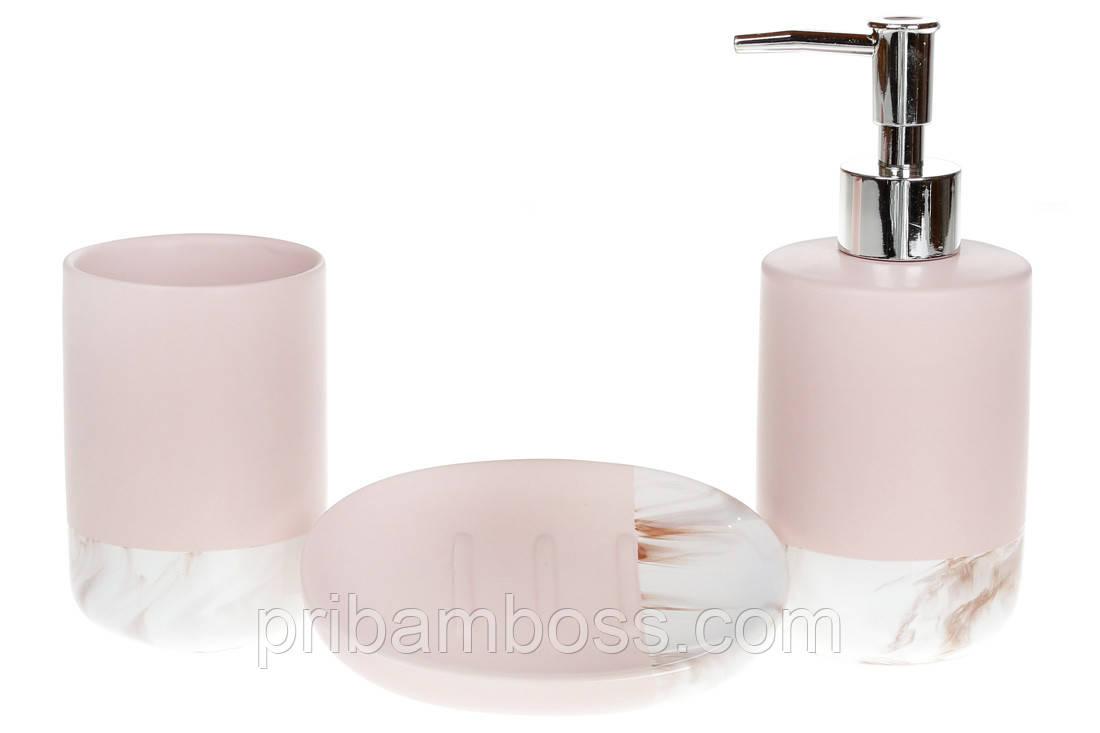 Набор для ванной (3 предмета) цвет розовый+белый мрамор