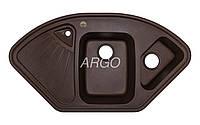 Угловая гранитная мойка для кухни с двумя чашами Argo Trapezio Brown 1060*575*190 (коричневая)