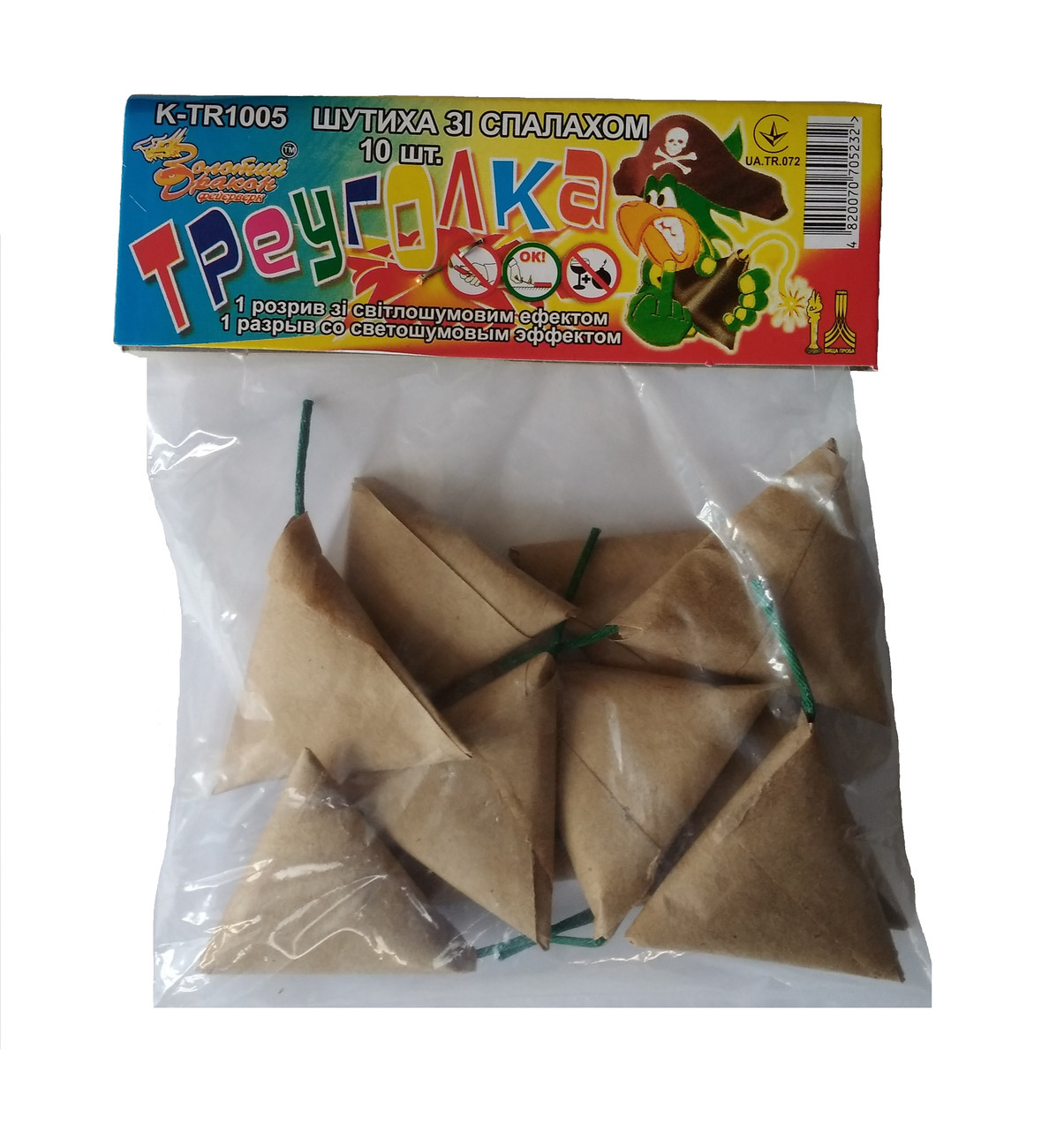 Фитильные петарды Треуголка 10 шт (треугольник) Золотой Дракон TR1005