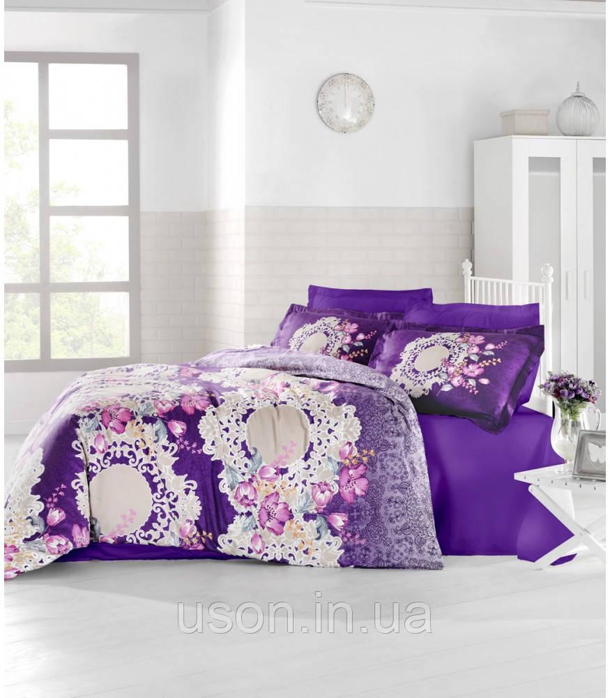 Купить Комплект постельного белья сатин Altinbasak Elvin Mor евро